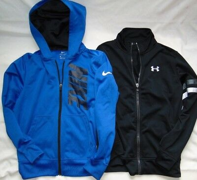 Lot of (2) Youth Boys UNDER ARMOUR & NIKE Zip Up Track Jackets Sz L
