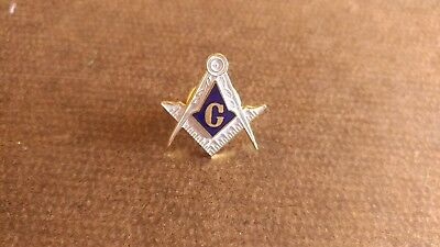 Vintage Masonic Large White Lapel Pin, Square and Compass