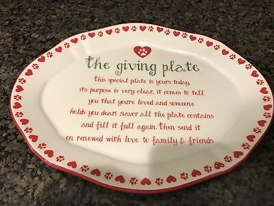 The Giving Plate Oval Friends Paws and Hearts To  Give and Return Red White NWT