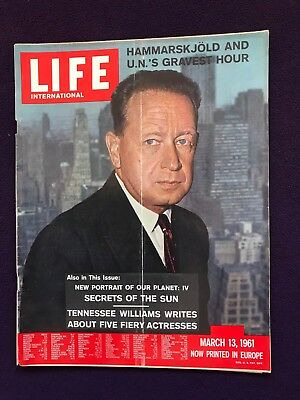LIFE magazine Mar 13th 1961 DAG HAMMARSKJÖLD Tennessee Williams LIZ TAYLOR