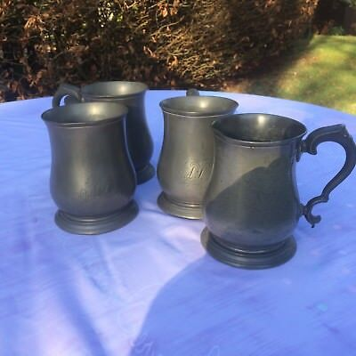 """Set of 4 Antique Victorian Pewter  ~ """"Cow & Hare"""" ,High Wycombe, Bucks. 1850's"""