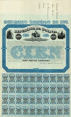1870 - Republic de Bolivia, 1870, Internal Debt, 100, 500 AND 1000 PESOS.