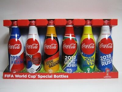 (6) diff Coca Cola Japan 2018 FIFA World Cup Empty Bottle set with case.