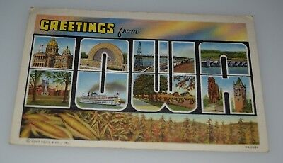 c.t. greetings from iowa linen vintage postcard