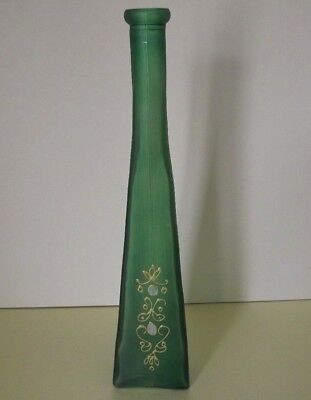 Triangular Green Art Glass Bottle Vase with Enamel Decoration