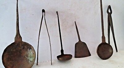 6 Pc Old iron Handcrafted Unique Engraved  kitchen Spoons , Collectible