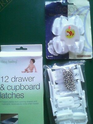 baby mains socket plug safety covers & drawer/ cupboard latches