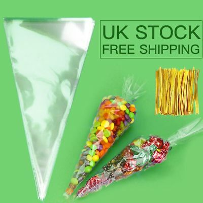 Cone Clear Cello Bags Sweet Candy Cones large 50 pcs Party Kids Birthday Wedding