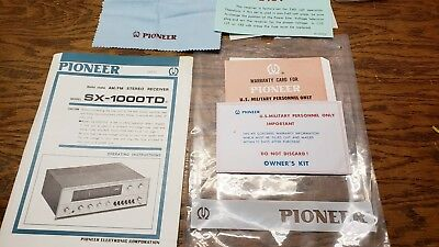 Pioneer SX-1000TD full packet of paperwork. Manual, military warranty card +more