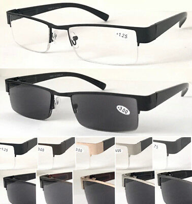R401 Men' Semi-Rimless Reading Glasses Or 100%UV Reading Sunglasses/Spring Hinge
