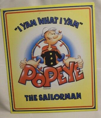 """Popeye The Sailorman """"I Yam What I Yam"""" 1996 VTG Yellow Metal Sign King Features"""