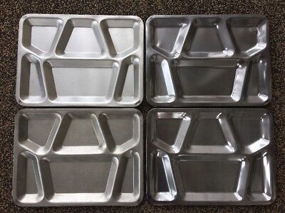4 Vtg Military Mess Hall Cafeteria Trays Stainless Steel Metal USN