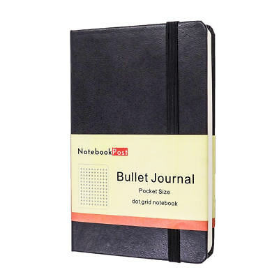 Bullet Journal Notebook Pocket Size A6 Hardcover, 160 Dotted Grid Pages,Black