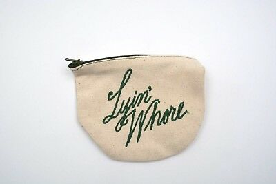 Fishs Eddy Funny Embroidered Lyin' Whore Cotton Coin Purse with Contrast Zipper