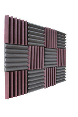 "Acoustic Foam 12 Pack Burg/Char 2""x12""x12"" Acoustic Panels Studio Foam Wedges 6T"