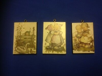 3 Vintage Hummel Plaques on Wood