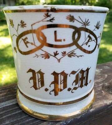 Antique Odd Fellows Fraternal Order Shaving Mug FLT