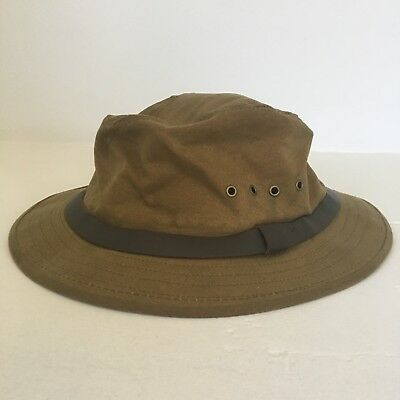 CC Filson Vintage Tin Cloth Packer Hat Bucket Hunting Fishing Cruiser Green f8c542652f1