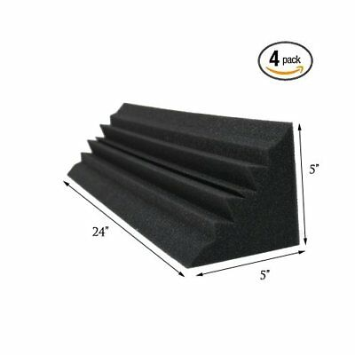 (4 PACK) 5 x 5 x 24 Inches Acoustic Wedge Studio Soundproofing Foam Bass Trap