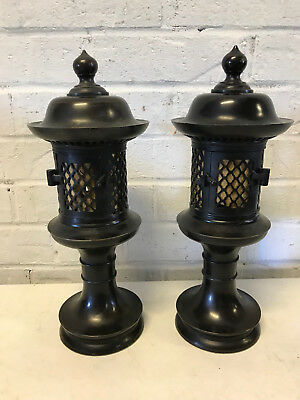Japanese Bronze Unknown Age Pair of Toro Temple Lanterns