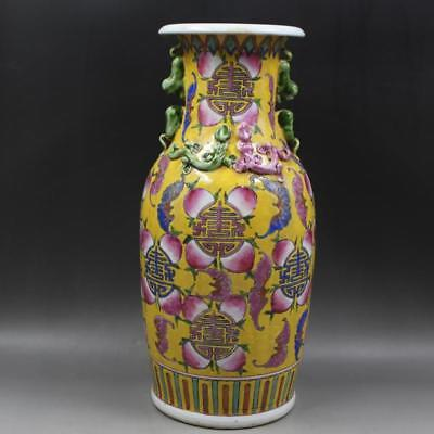 Great Chinese Antique Famille Rose Porcelain Kylin Two Ear Vase