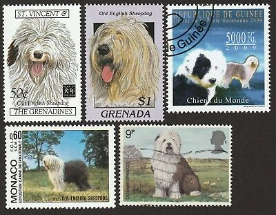 OLD ENGLISH SHEEPDOG ** Int'l Dog Postage Stamp Collection **Unique Gift Idea**