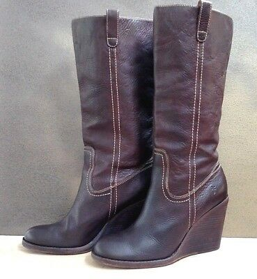 9aa87129933e FRYE Caroline Campus Wedge Boot..Size 10 M..Brown Leather.