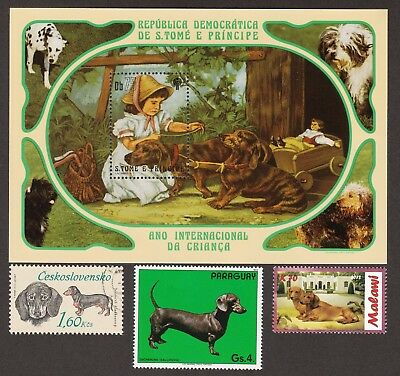 DACHSHUND ** Int'l Dog Postage Stamp Collection **Great Gift Idea**