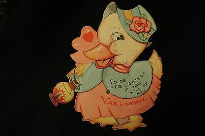 Vintage DUCK Valentine card c. 1930s UNSIGNED