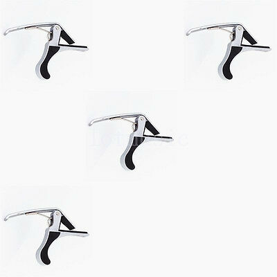 4xQuick Change Clamp Key Capo for Acoustic Electric Classic Guitar Silver Metal