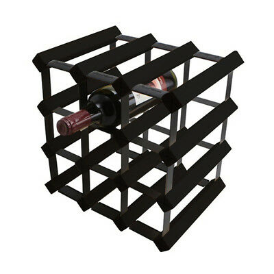 Wooden Metal Wine Rack Organiser Holds 12 Bottles Black Colour Set Of 2