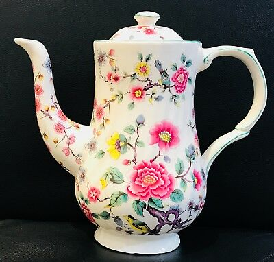 "James Kent Old Foley C1950 ""Chinese Rose"" Coffee Pot Floral & Birds Chintz"