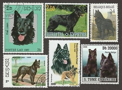 BELGIAN SHEEPDOG **Int'l Dog Postage Stamps**GROENENDAEL SHEPHERD**Unique Gift*