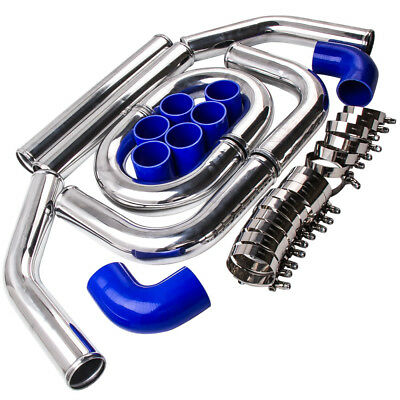 """2.5"""" Inch 64Mm Aluminum Turbo Intercooler Piping Kit Universal Pipes +Clamp Qxpf"""