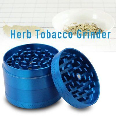Blue 4 Piece Zinc Alloy Grinder Tobacco Herb Spice Smoke Hand Chromium Crusher #