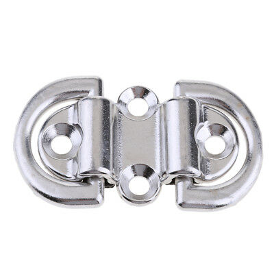 Stainless Steel Folding Pad Eye Deck Lashing Double D Ring Tie Down Plate