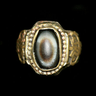 Persian silver and brass ring with agate eye bead bezel y2751