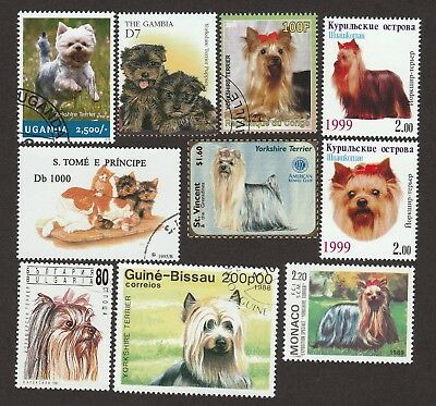YORKSHIRE TERRIER**Int'l Dog Postage Stamp Collection**Unique Gift**