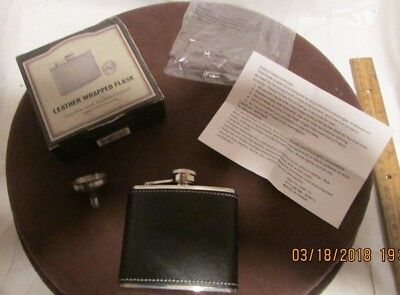 Brand New Leather Wrapped Stainless Steal 5oz Flask With Funnel In Original Box