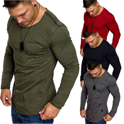 Fashion Men's Slim Fit O Neck Long Sleeve Muscle Tee T-shirt Casual Tops Blous