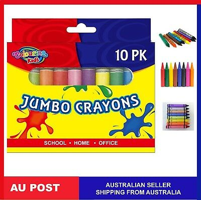 10 X Jumbo Size Extra Thick Crayon Crayons Assorted Colors Kid Gift Draw Craft