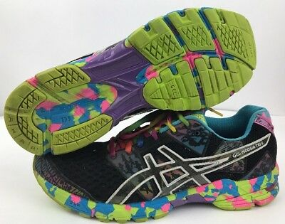 separation shoes f9309 8055d ASICS Gel Noosa Tri 8 Black Pink Tye Dye Running Shoes Sneakers Women s  Size 10
