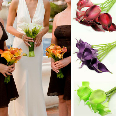 10pcs/Pack Artificial PU Real Touch Calla Lily Flower Wedding Party Event Decora