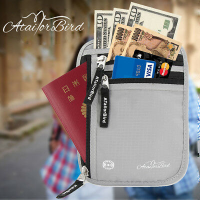 ATailorBird RFID Blocking Neck Wallet Passport ID Card Holder Anti-Theft Travel