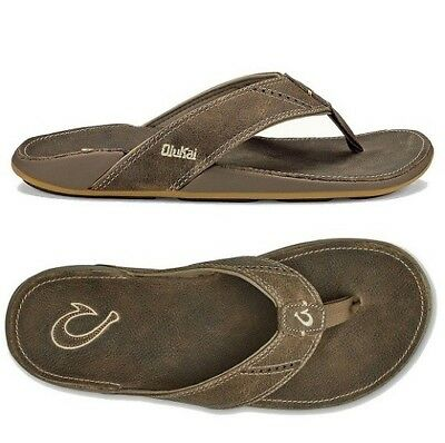039629240 Men s Sandals Olukai Nui Leather Clay 12M Brand New