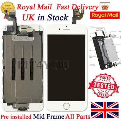 """For iPhone 6 White 4.7"""" Screen Replacement Digitizer LCD Home Button Camera Tool"""