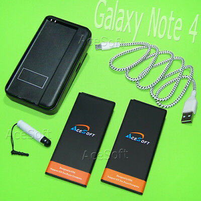 AceSoft 2x 6670mAh Battery Dock AC Charger Cable for Samsung Galaxy Note 4 N910F