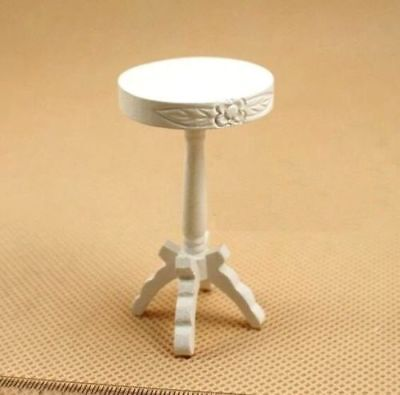 1:12 Dollhouse Miniature Doll Furniture Carved Wooden White Stool High Chair