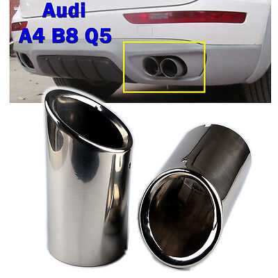 2pcs 75mm Chrome Stainless Steel Exhaust Tail Muffler Tip Pipe for Audi A4 B8 Q5
