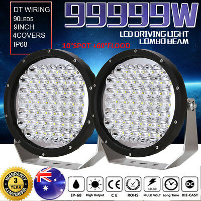 9inch 99999W CREE LED Driving Lights Combo Beam Spotlights Round Offroad 4x4 ATV